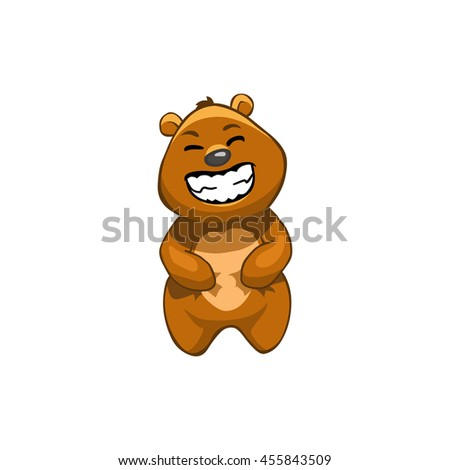 Brown Bear Cartoon Character.  Emotion: laughing
