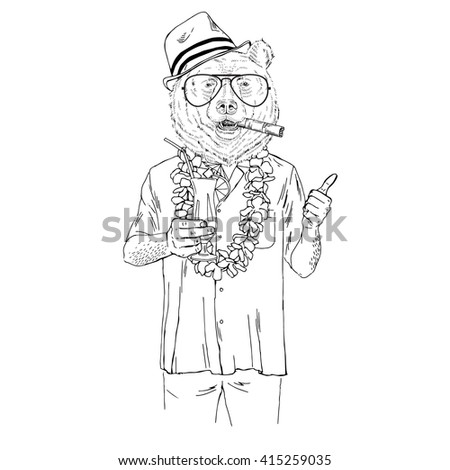 Brown Bear Dressed Up In Aloha Shirt With Cocktail Furry Art Illustration Fashion Animals