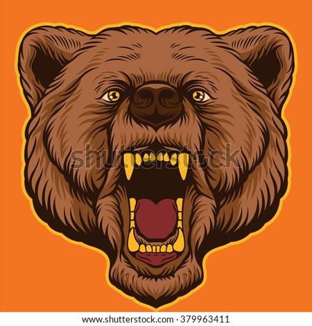 Brown bear head. Vector cartoon illustration - stock vector