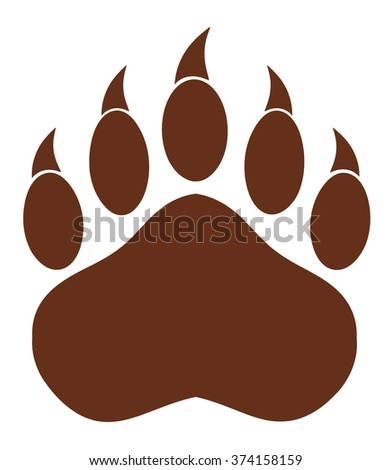 Brown Bear Paw With Claws. Vector Illustration Isolated On White - stock vector