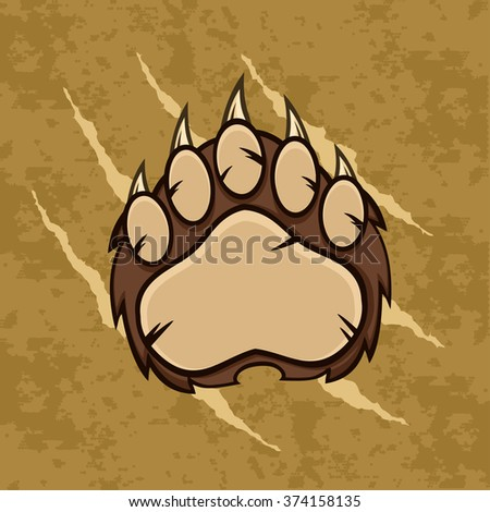 Brown Bear Paw With Claws. Vector Illustration With Scratches Grunge Background