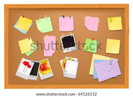 Brown blackboard with office supplies. Vector. - stock vector