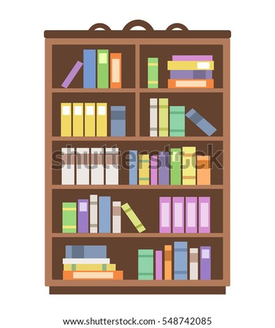 Digital Library Books Inside Computer Stock Vector