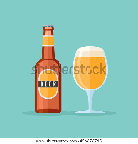 Brown bottle and glass with beer. Flat style icon. Vector illustration.
