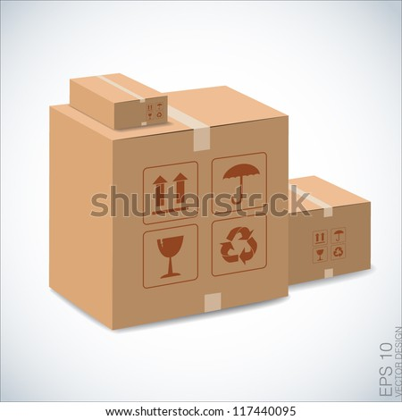 brown boxes recycle illustration on white. - stock vector