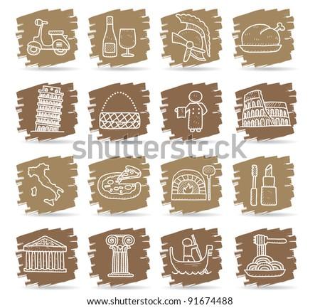 Brown brush series   Italy,travel,landmark icon set - stock vector