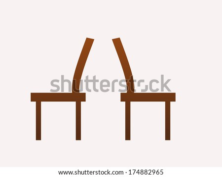 brown chairs at the back vector illustration
