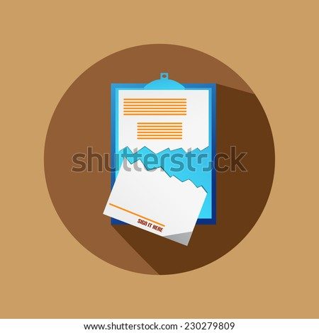 Brown Circle Flat Cancel Contract Icon - stock vector