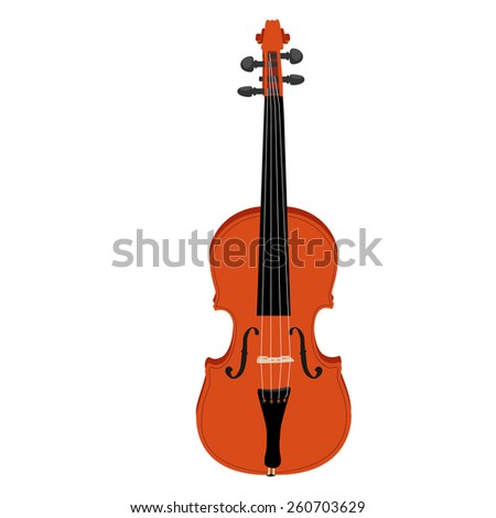 Brown classical violin vector icon isolated, musical instrument - stock vector