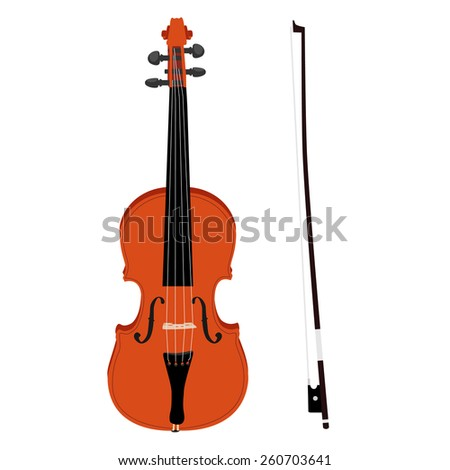 Brown classical violin with fiddle stick vector icon set isolated, musical instrument - stock vector