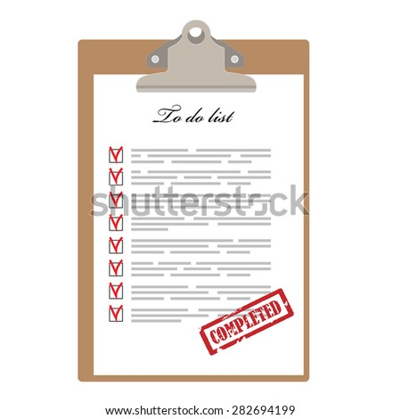 Brown clipboard and to do list with check boxes marked with red rubber stamp completed vector illustration. Survey icon, checklist icon  - stock vector