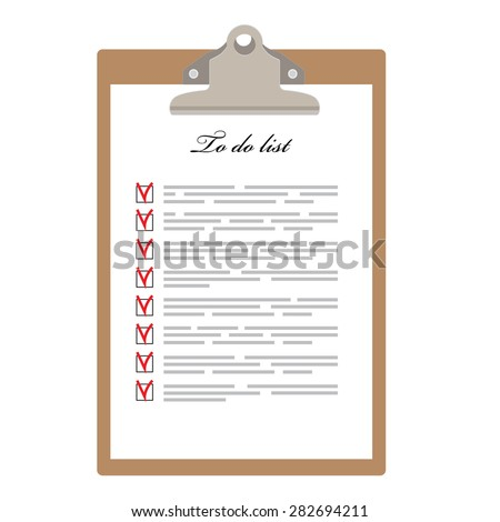 Brown clipboard and to do list with check boxes vector illustration. Survey icon, checklist icon  - stock vector