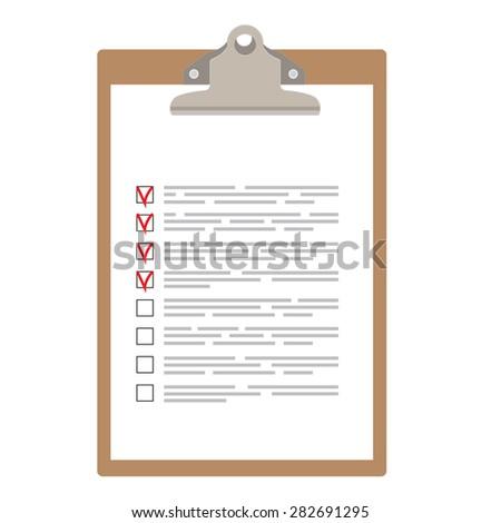 Brown clipboard with checklist vector illustration. Survey icon, checklist icon  - stock vector
