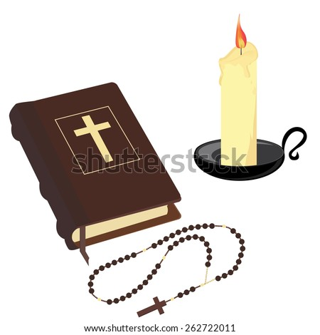Brown closed Holy bible , rosary beads and wax candle with black holder vector icon set isolated - stock vector
