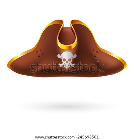 Brown cocked hat with pirate symbol of skull and crossed bones - stock vector