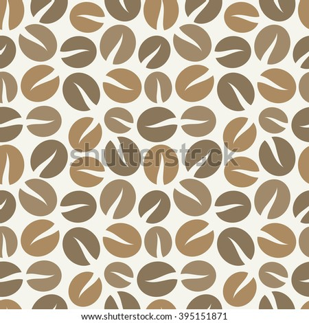 Brown coffee beans seamless pattern. Vector illustration - stock vector