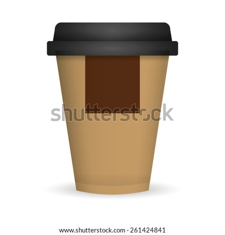 brown coffee paper cup - stock vector