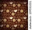 Brown coffee seamless pattern with various hearts and circles. Vector vintage background with many details for cards, gifts, arts, invitations - stock vector