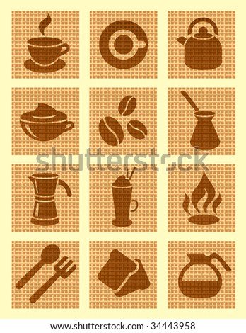 Brown coffee textured icons, vector illustration, EPS file included - stock vector