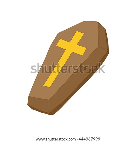 Brown coffin with cross icon in cartoon style on a white background - stock vector