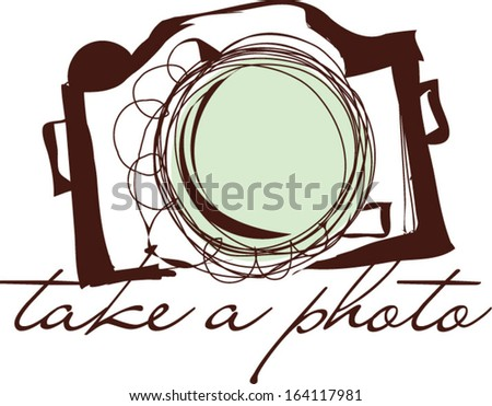 Brown color hand drawn doodle digital camera illustration,  take a photo clipart, vector illustration - stock vector
