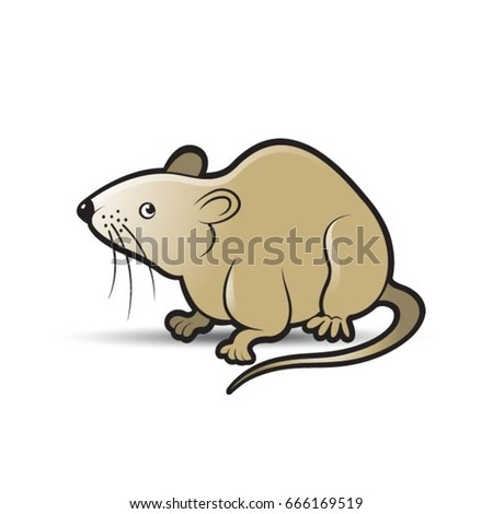 brown color mouse looking alert vector drawing