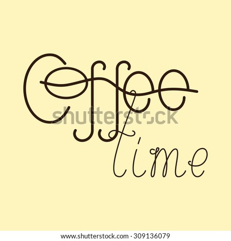 Brown colored lettering coffee time isolated on flaxen background. Logo template, design element - stock vector