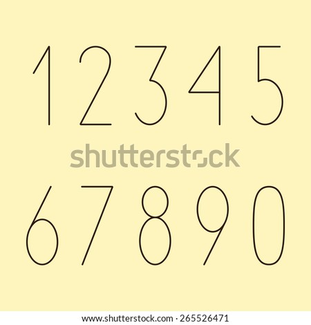 Brown colored simple numbers in modern style set isolated on yellow background - stock vector