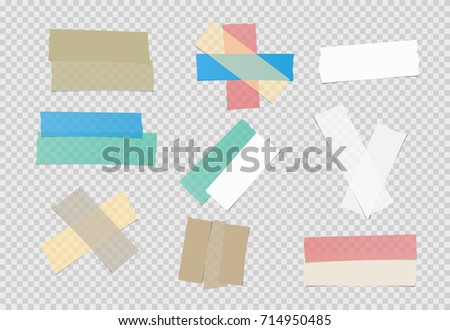 Brown, colorful and white different size adhesive, sticky tape, paper pieces on squared background.