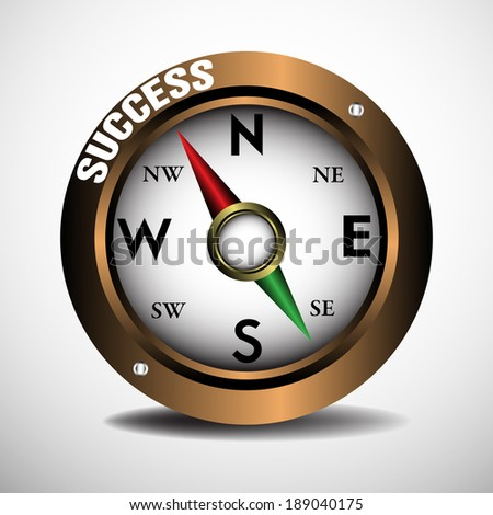 Brown compass isolated on a blank background with the red pointer pointing towards success. Success concept - stock vector