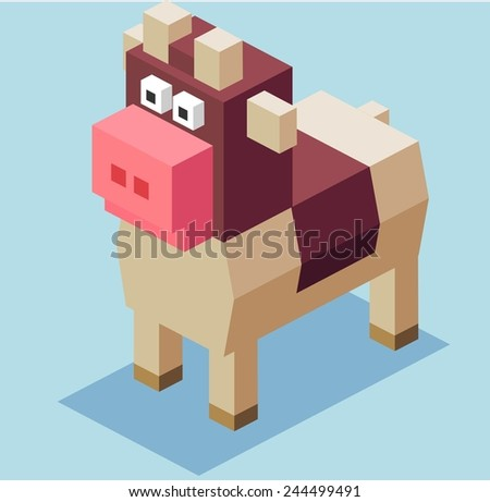 brown cow. 3d pixelate isometric vector - stock vector