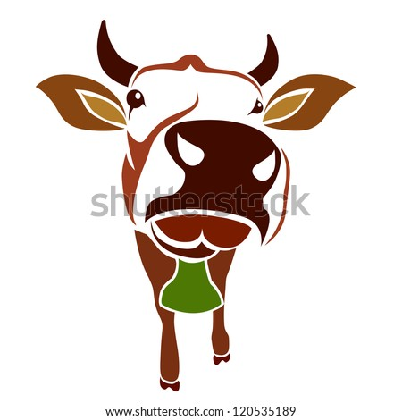 Brown cow on a white background - vector - stock vector