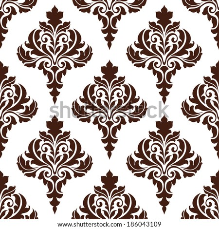 Brown damask seamless pattern background with floral elements for textile or wallpaper design - stock vector