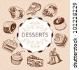 Brown desserts set - stock vector