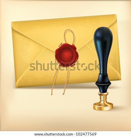 Brown envelope and Rad wax with Wax seal stamp. - stock vector