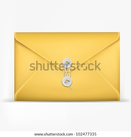 Brown Envelope with rope. - stock vector