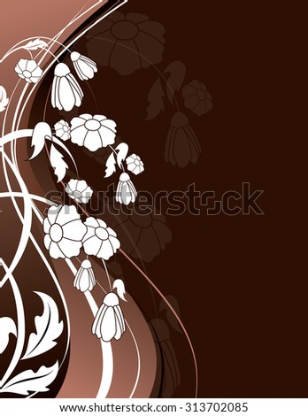 Brown Floral Background with White Flowers. - stock vector
