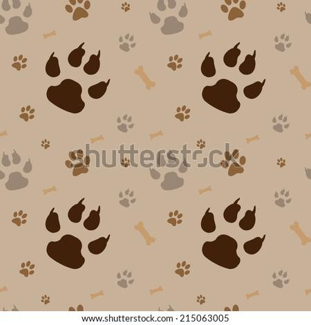 brown footprints seamless pattern - stock vector