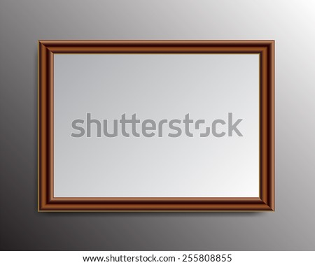 brown frame vector on wall.  - stock vector