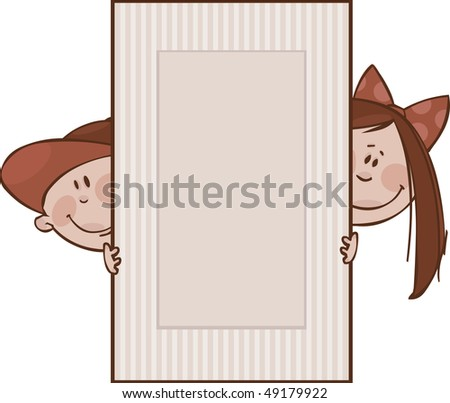 Brown framework with funny kids - stock vector