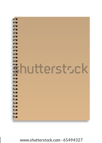 Brown front cover notebook isolated on white background Vector - stock vector