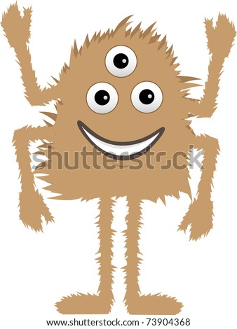 Brown Furry Monster three eyes four arms smiling editable vector illustration