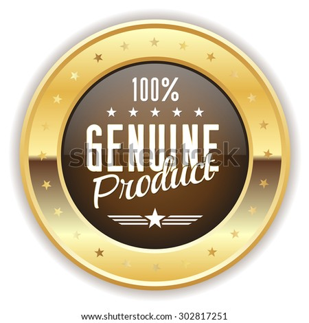 Brown genuine product badge with gold border on white background - stock vector