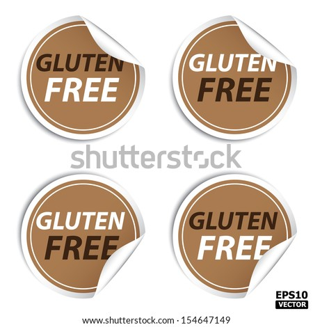 Brown Gluten Free stickers, icons, labels, signs, symbols or tags isolated on white background. -eps10 vector - stock vector