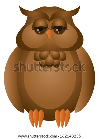 Brown Great Horned Owl Cute Cartoon Isolated on White Background Vector Illustration - stock vector