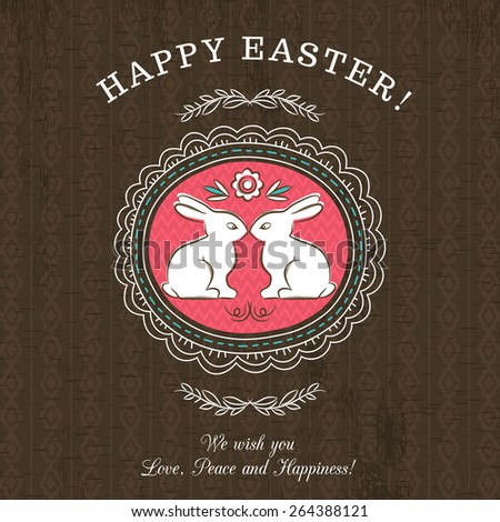 Brown greetings card for Easter Day with roundet frames with two rabbit. There inscription Happy Easter. Decorative composition suitable for invitations, greeting cards, flyers, banners. - stock vector