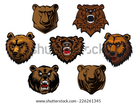 Brown grizzly or bear heads mascots with different expressions from curious to fierce and snarling, vector illustration isolated on white - stock vector