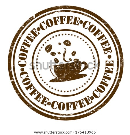 Brown grunge rubber stamp with coffee cup and beans and the text coffee written inside, vector illustration - stock vector