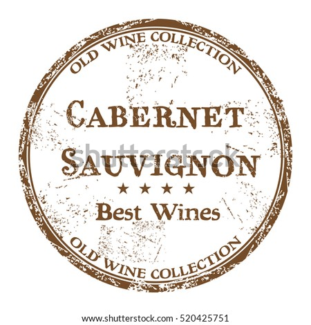 Brown grunge rubber stamp with the text best wines, Cabernet Sauvignon, written inside the stamp