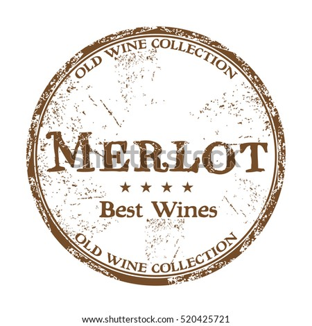 Brown grunge rubber stamp with the text best wines, Merlot, written inside the stamp